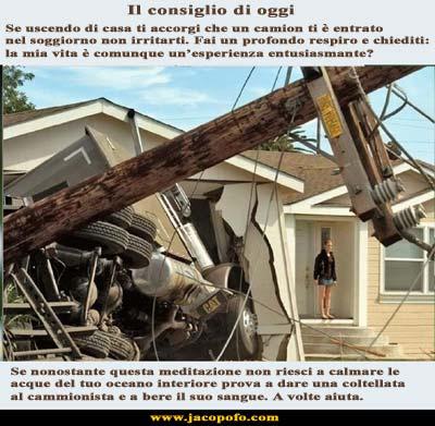 Jacopo Fo pensiero positivo disastro casa