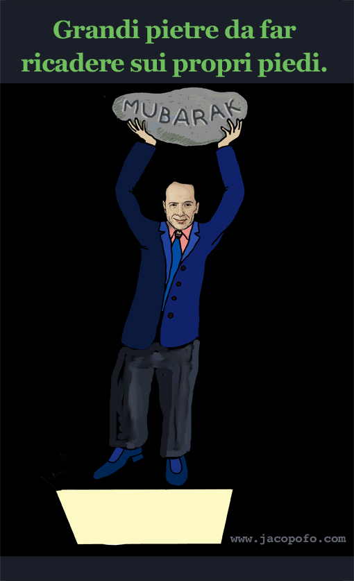 Vignette Jacopo Fo Berlusconi Mubarak