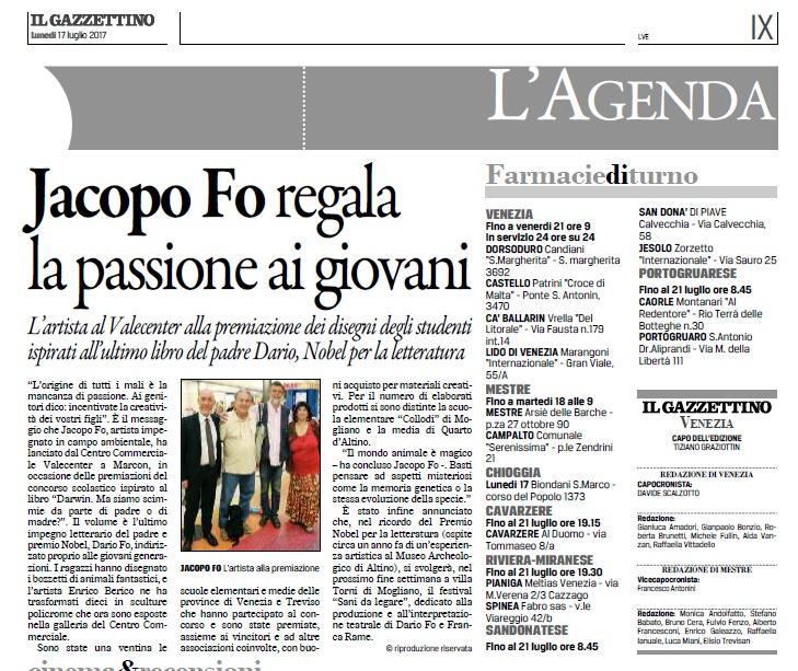 Rassegna stampa Jacopo Fo Gazzettino