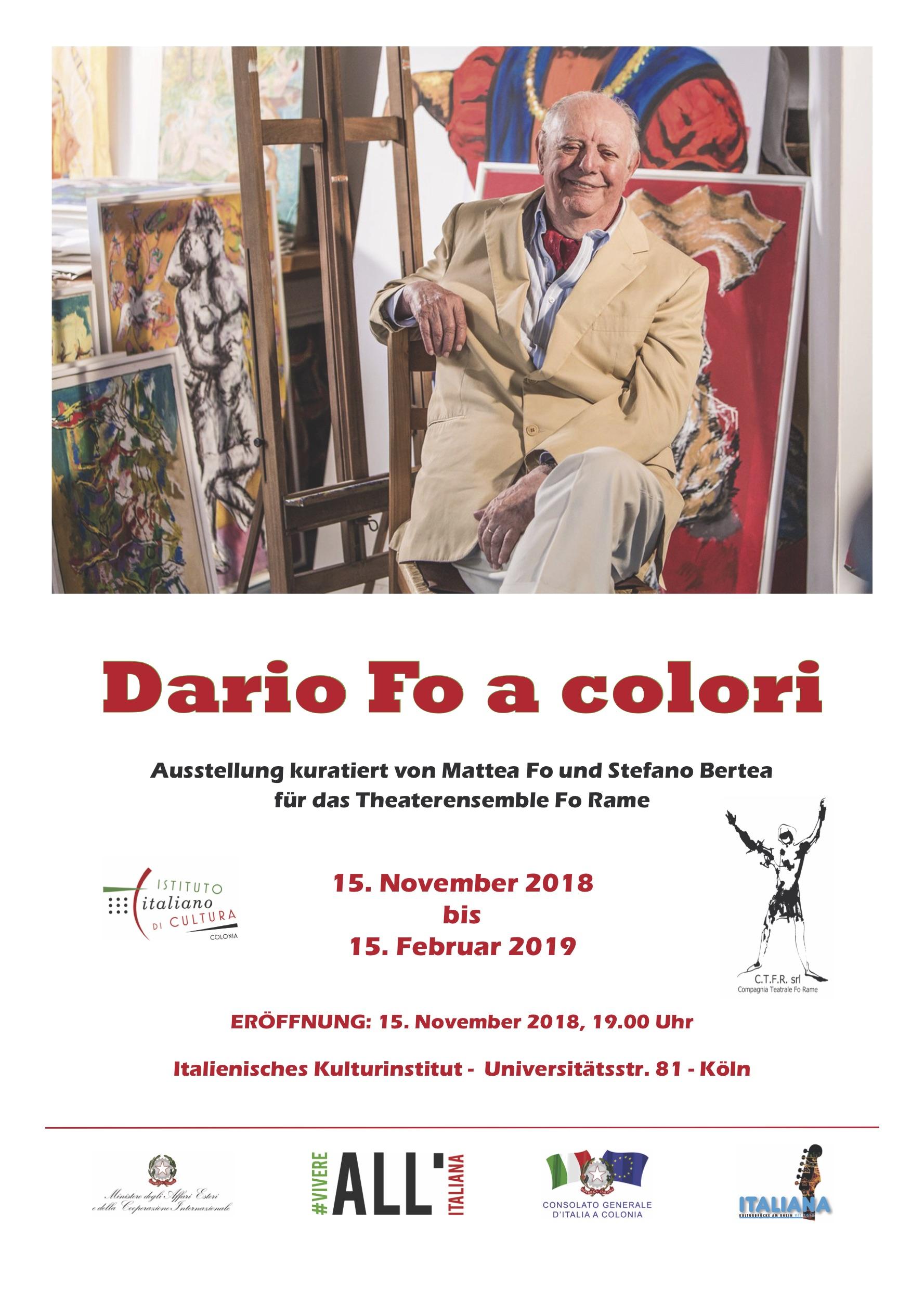 DARIO FO A COLORI - Le opere del Premio Nobel in mostra presso l'Istituto Italiano di Cultura di Colonia in Germania dal 15 novembre 2018 al 15 febbraio 2019