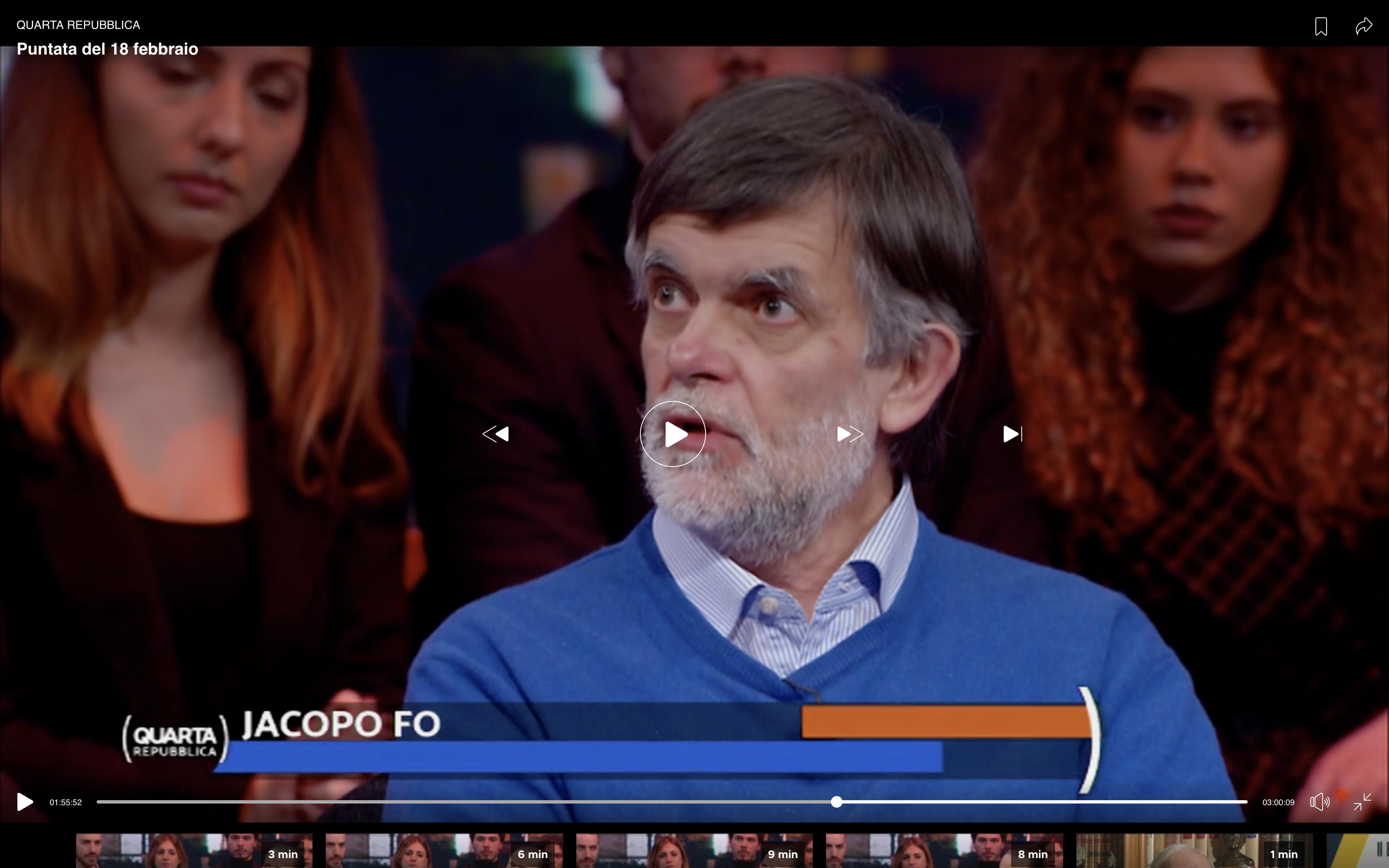 Jacopo Fo ospite a Quarta Repubblica